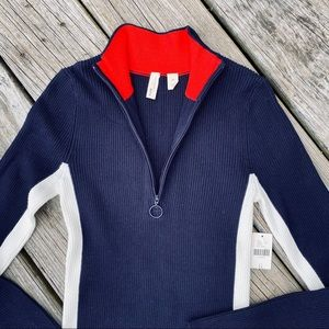 Moth Anthropologie Red White Blue Zip Neck Sweater